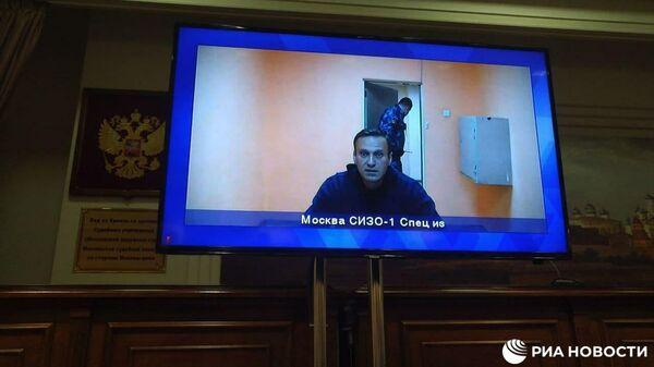 Алексей Навальный в комнате трансляций Матросской тишины