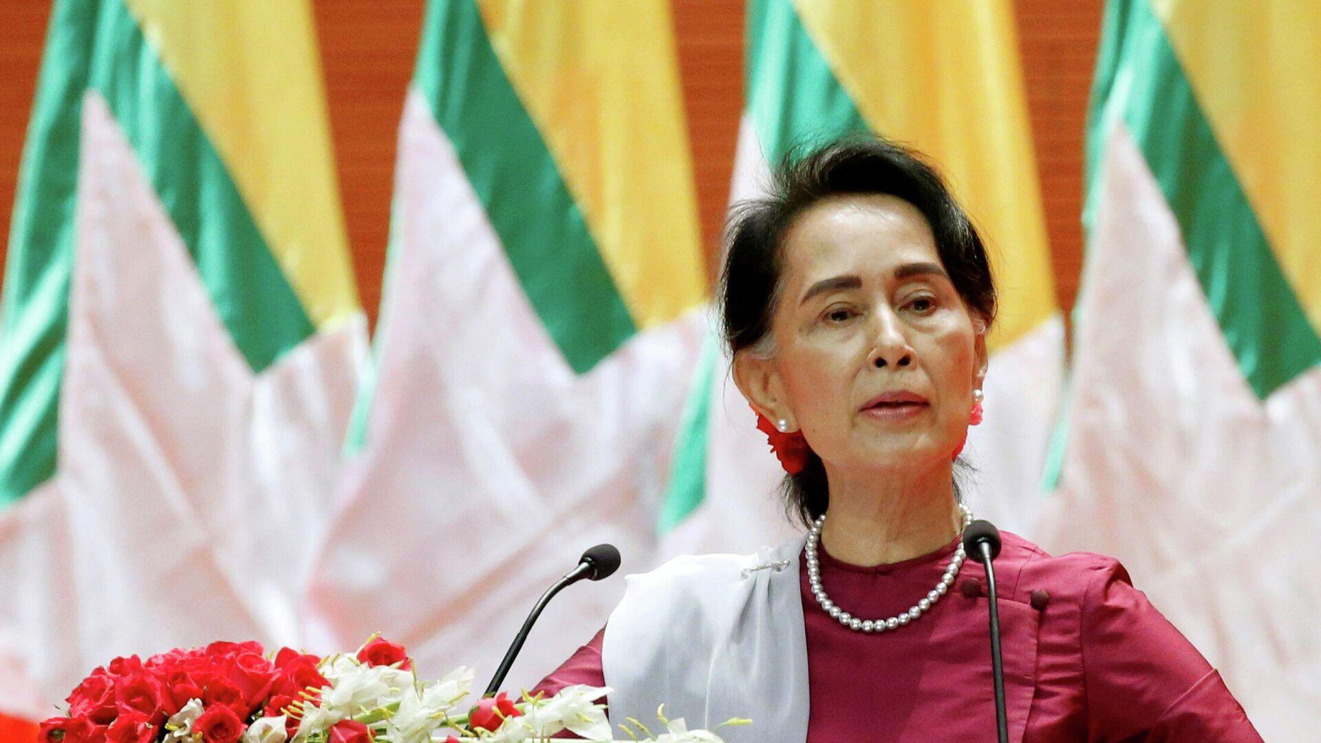 Государственный советник Республики Союз Мьянмы Аун Сан Су Чжи - РИА Новости, 1920, 16.02.2021