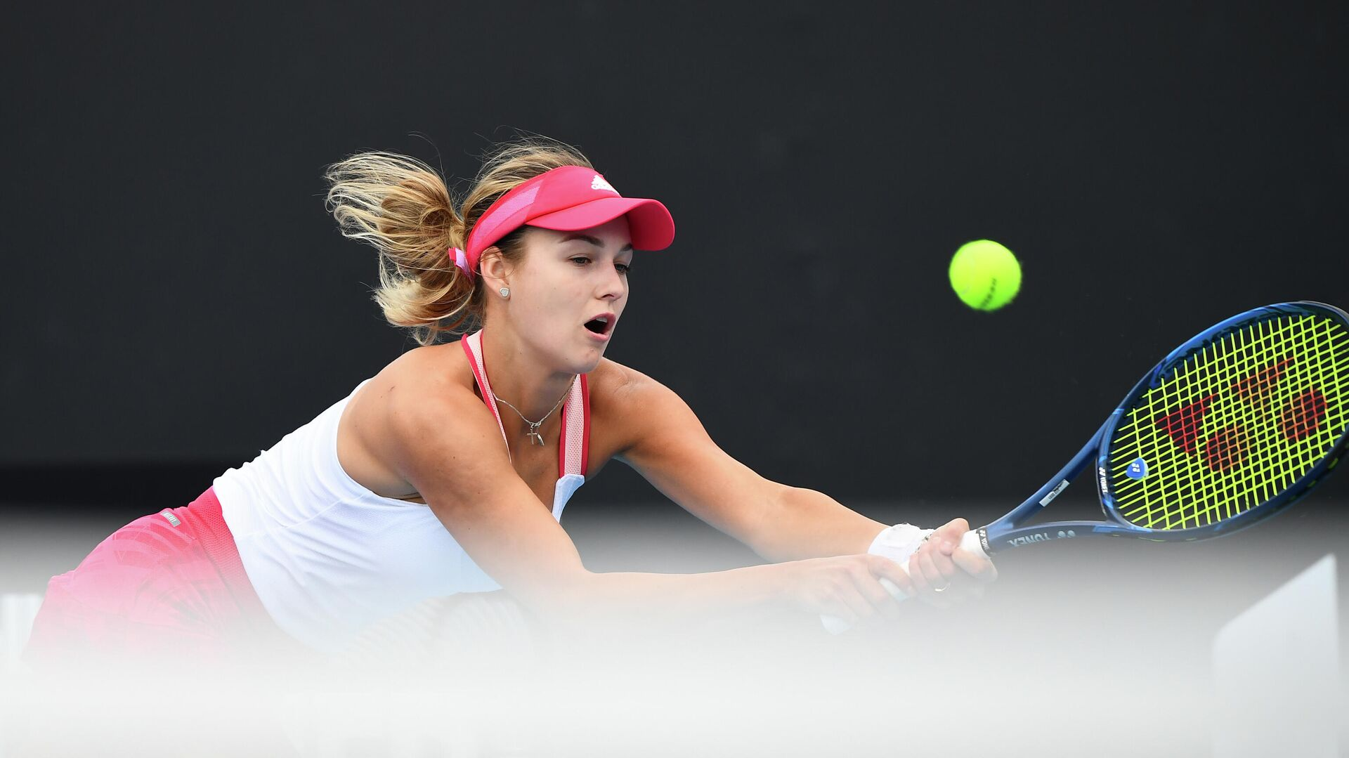 Russia's Anna Kalinskaya hits a return against Britain's Katie Boulter during their Gippsland Trophy women's singles tennis match in Melbourne on February 1, 2021. (Photo by William WEST / AFP) - РИА Новости, 1920, 05.02.2021