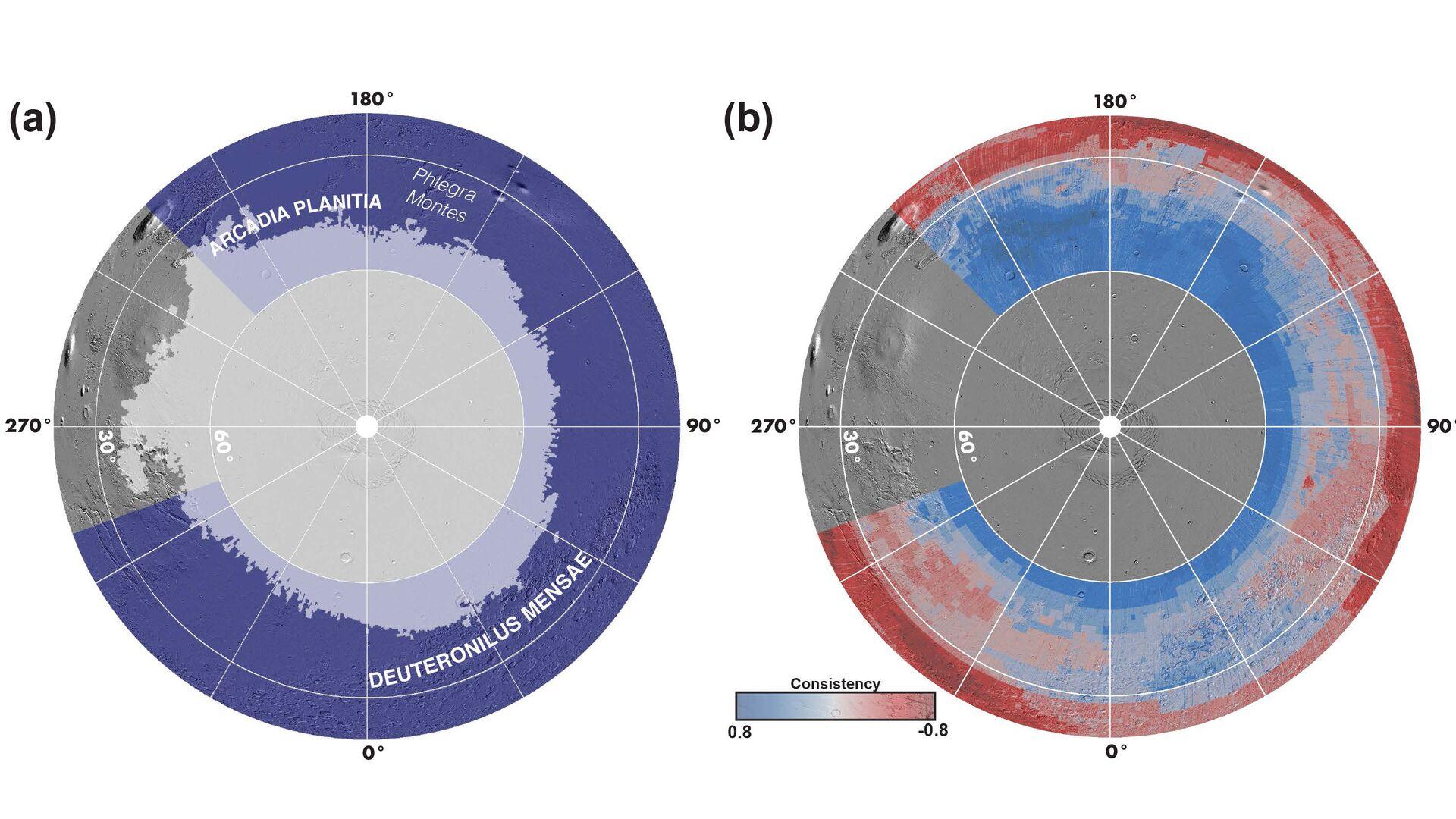 Карты северной полярной области Марса. Слева: серым — зона устойчивости льда, фиолетовым — области исследования SWIM. Справа: степень согласованности различных методов, подтверждающих наличие (синим) или отсутствие (красным) погребенного льда - РИА Новости, 1920, 09.02.2021