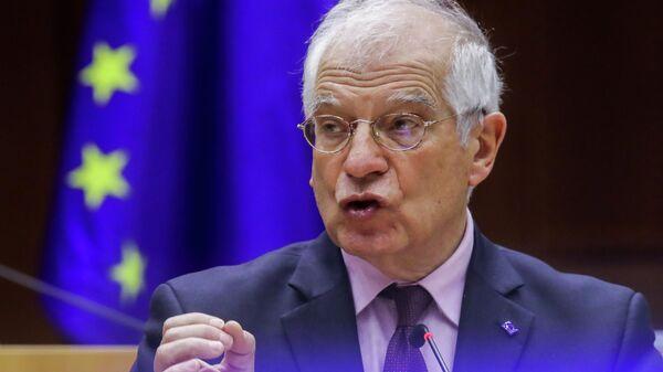 Верховный представитель Европейского союза по иностранным делам и политике безопасности Жозеп Боррель на заседании Европарламента в Брюсселе