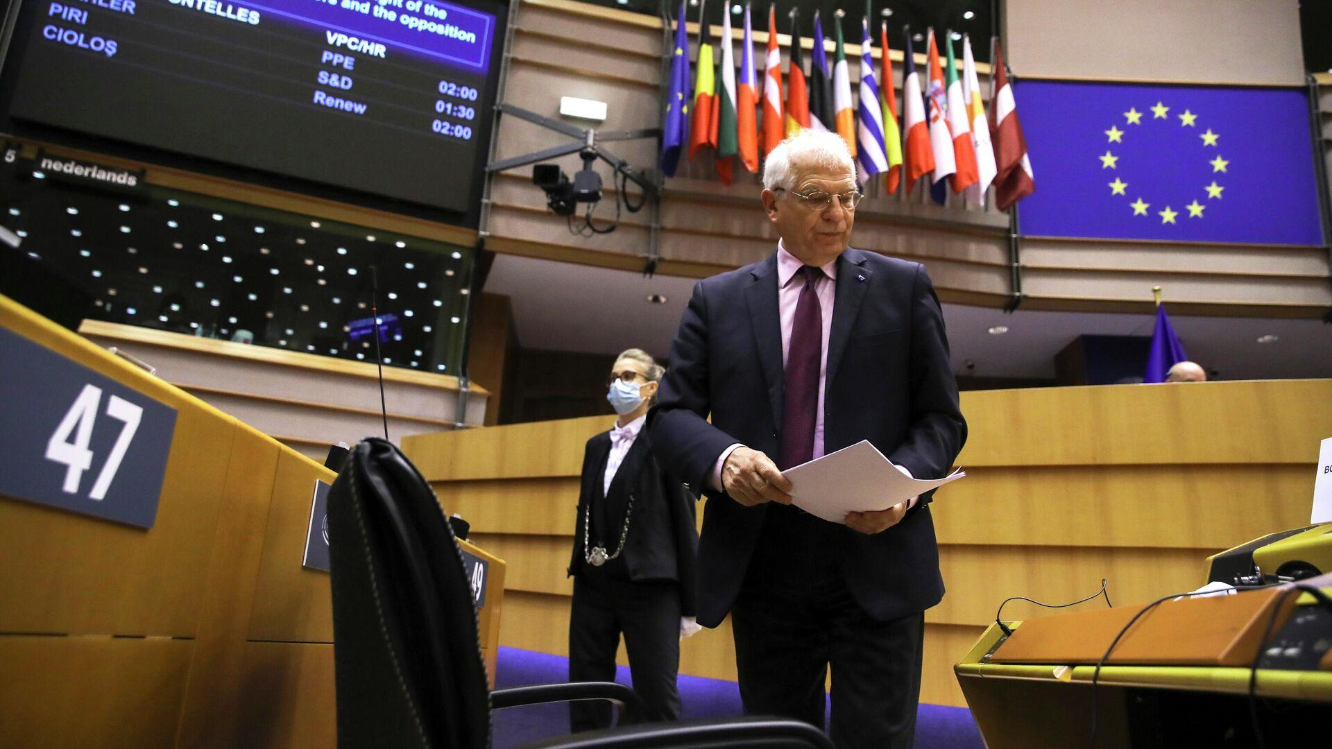 Верховный представитель Европейского союза по иностранным делам и политике безопасности Жозеп Боррель на заседании Европарламента в Брюсселе - РИА Новости, 1920, 09.02.2021