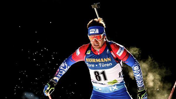 Евгений Гараничев (Россия) на дистанции индивидуальной гонки среди мужчин на чемпионате мира по биатлону 2021 в словенской Поклюке.