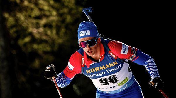 Саид Каримулла Халили (Россия) на дистанции индивидуальной гонки среди мужчин на чемпионате мира по биатлону 2021 в словенской Поклюке.