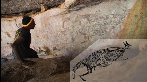 Древнейший наскальный рисунок в Австралии, имеющий возраст 17300 лет