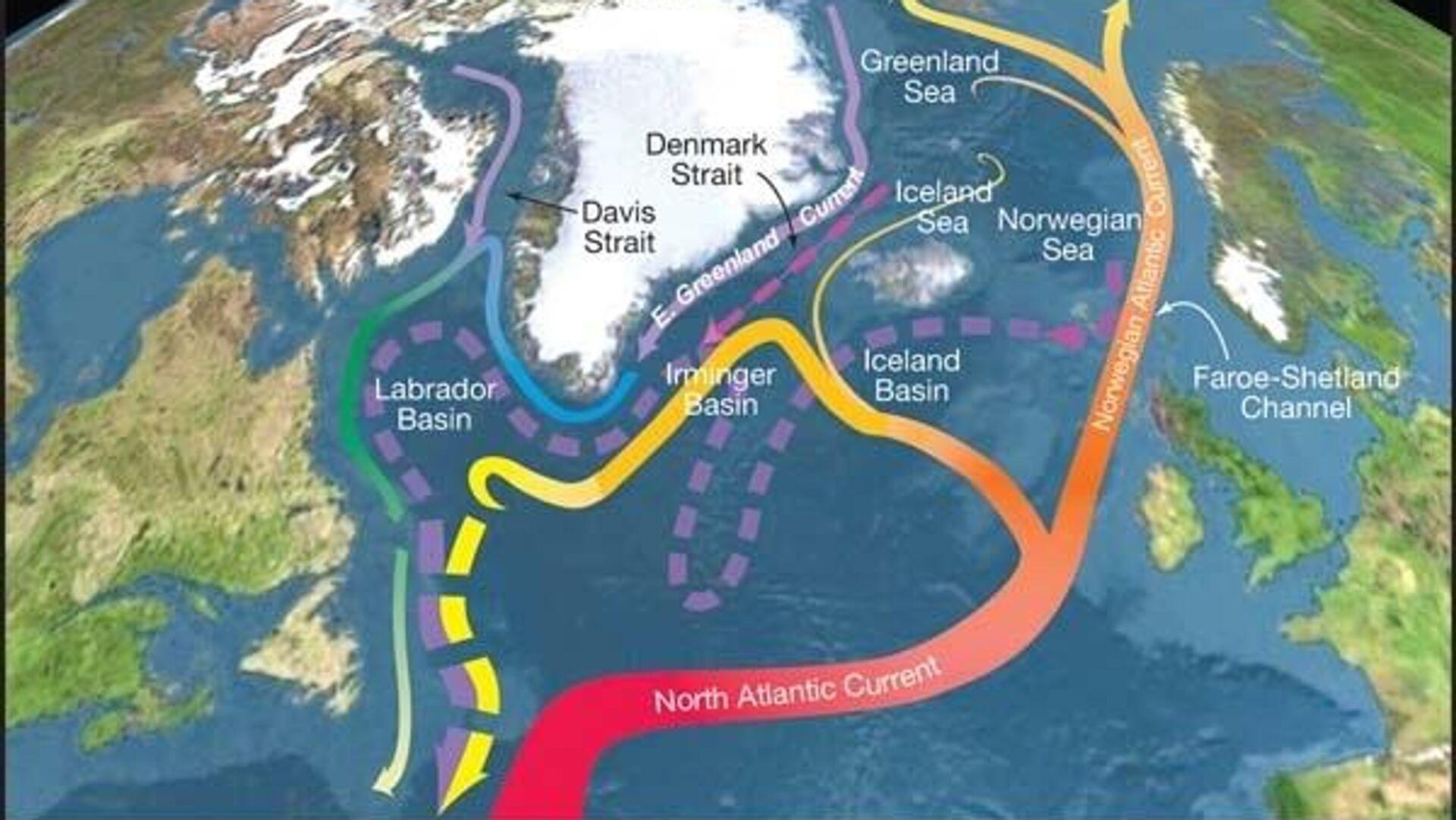 Схема Атлантической меридиональной циркуляции (AMOC). Цветом показана температура; сплошной линией - поверхностные течения; пунктиром - глубинные - РИА Новости, 1920, 25.02.2021