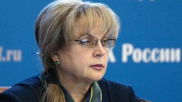 Элла Памфилова во время встречи с политологами в Информационном центре Центральной избирательной комиссии России