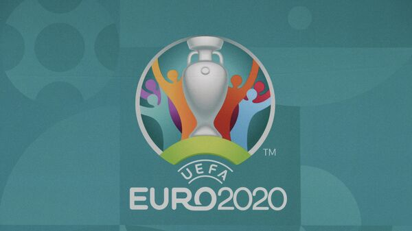 This picture taken on November 30, 2019, in Bucharest, Romania, shows the logo of the European Football Championship 2020 ahead of the UEFA Euro 2020 Final Draw Ceremony. - Bucharest will host the UEFA Euro 2020 draw on November 30, 2019 and host matches in the summer tournament but doubts have arisen on the progress of the construction work. (Photo by Fabrice COFFRINI / AFP)