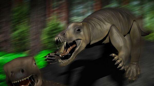 Реконструкция антеозавра, атакующего травоядного мосхопса