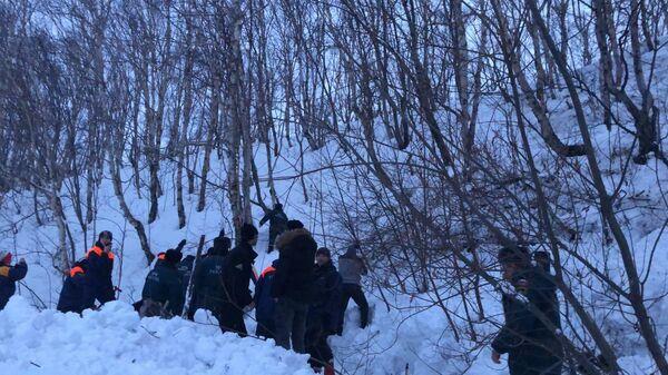 Сотрудники МЧС на месте схода лавины на Камчатке