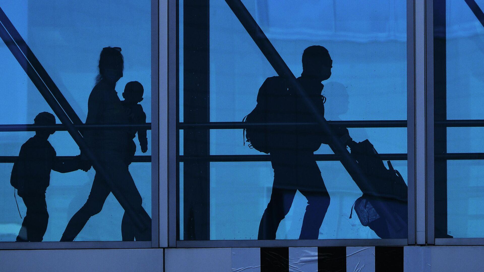 Семья в переходе терминала аэропорта Домодедово - РИА Новости, 1920, 23.06.2021