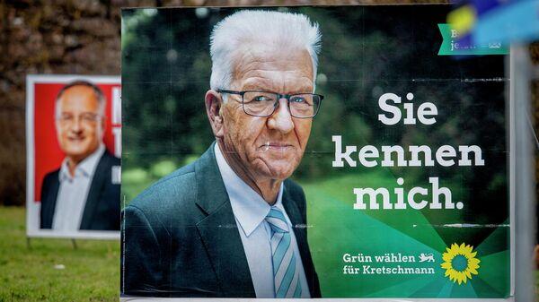 Предвыборные плакаты с изображением Винфрида Кречмана из партии Зеленых