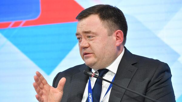 Председатель ПАО Промсвязьбанк Петр Фрадков на пленарном заседании в рамках форума-выставки Госзаказ