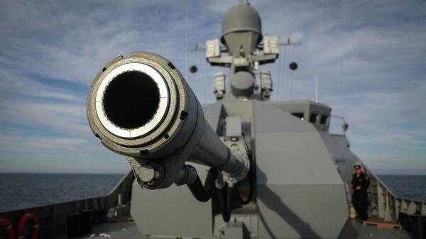 Артиллерийская установка А-190 малого ракетного корабля Углич