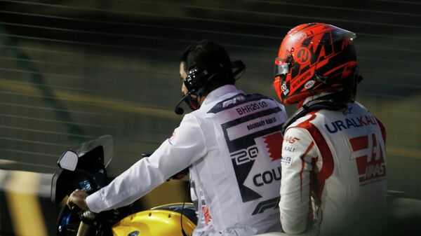 Никита Мазепин после аварии на Гран-при Бахрейна Формулы-1