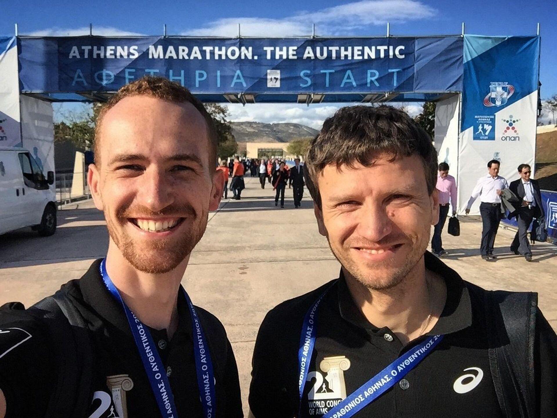Директор Московского марафона Дмитрий Тарасов (справа) с Юрием Афанасовым - РИА Новости, 1920, 30.03.2021