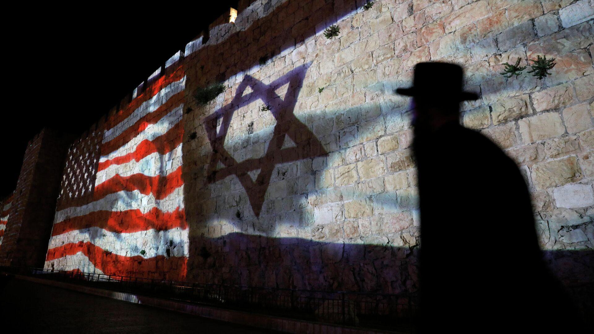 Флаг США и звезда Давида на стене в Иерусалиме, Израиль - РИА Новости, 1920, 10.05.2021