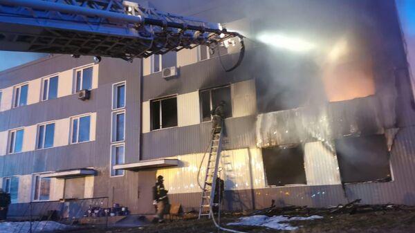 Пожар на мебельном складе в Электростали, Московская область