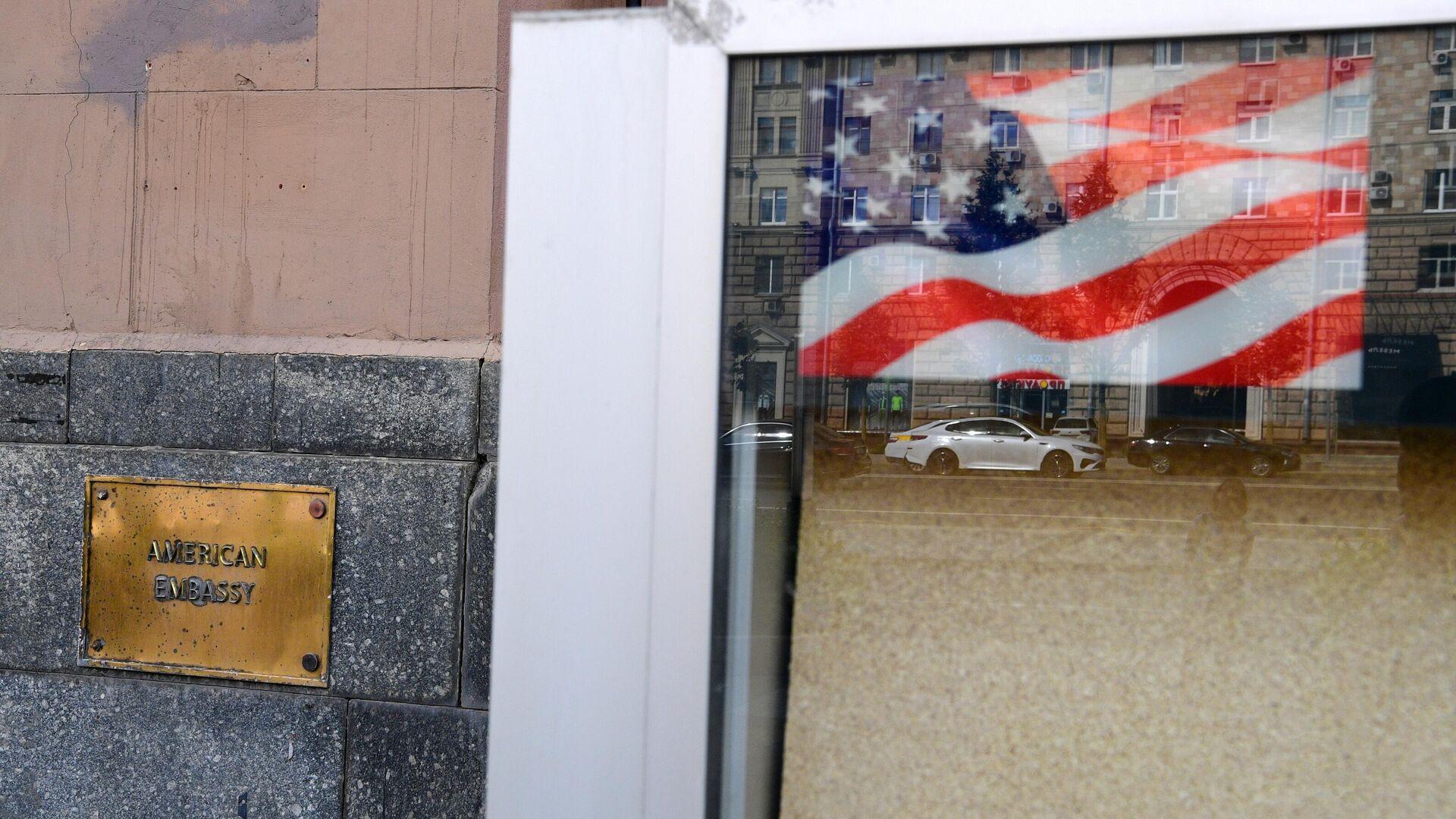 Табличка на здании посольства США в Москве - РИА Новости, 1920, 12.05.2021