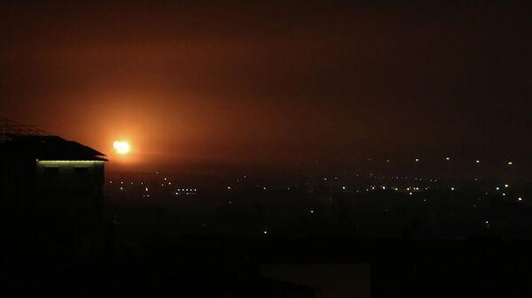 Авиаудар, нанесенный Израилем по югу сектора Газа. 16 апреля 2021