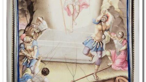 Икона Воскресение Христово на эмали