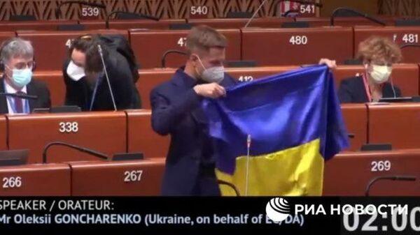 Украинский депутат развернул флаг страны во время заседания ПАСЕ
