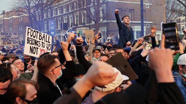 Болельщики Челси на акции протеста против Суперлиги