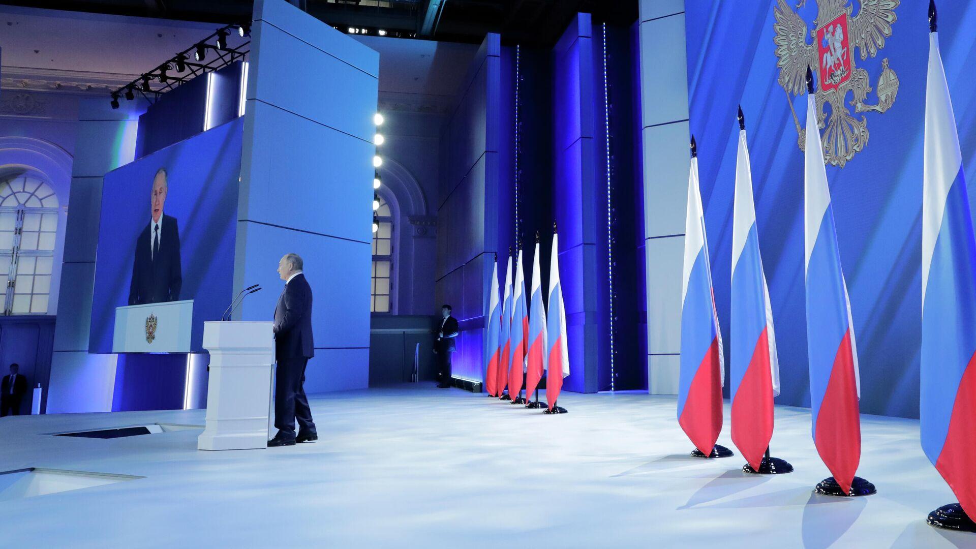 Президент РФ Владимир Путин во время выступления с ежегодным посланием Федеральному Собранию - РИА Новости, 1920, 21.04.2021
