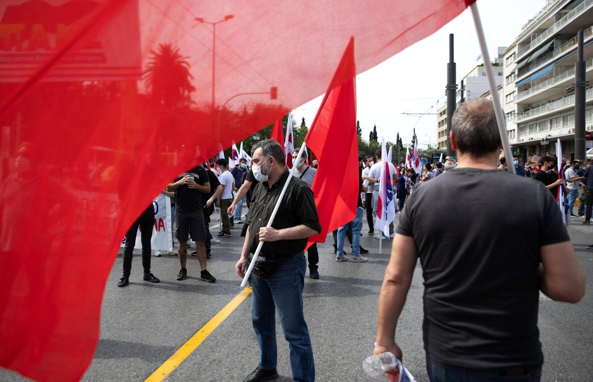 Акция рабочих, приуроченная к первомайским праздникам, в Афинах - РИА Новости, 1920, 06.05.2021
