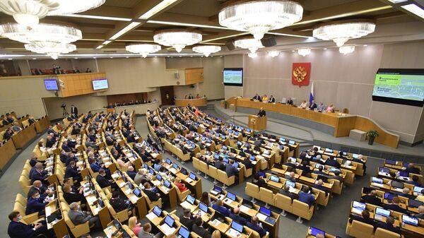 Председатель правительства РФ Михаил Мишустин во время выступления в Государственной думе РФ с отчетом о работе правительства