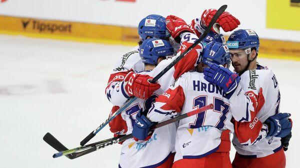 Ice Hockey - Euro Hockey Tour - Carlson Hockey Games - Czech Republic v Sweden - O2 Arena, Prague, Czech Republic - May 13, 2021 Czech Republic's Filip Zadina celebrates scoring their second goal with teammates REUTERS/David W Cerny