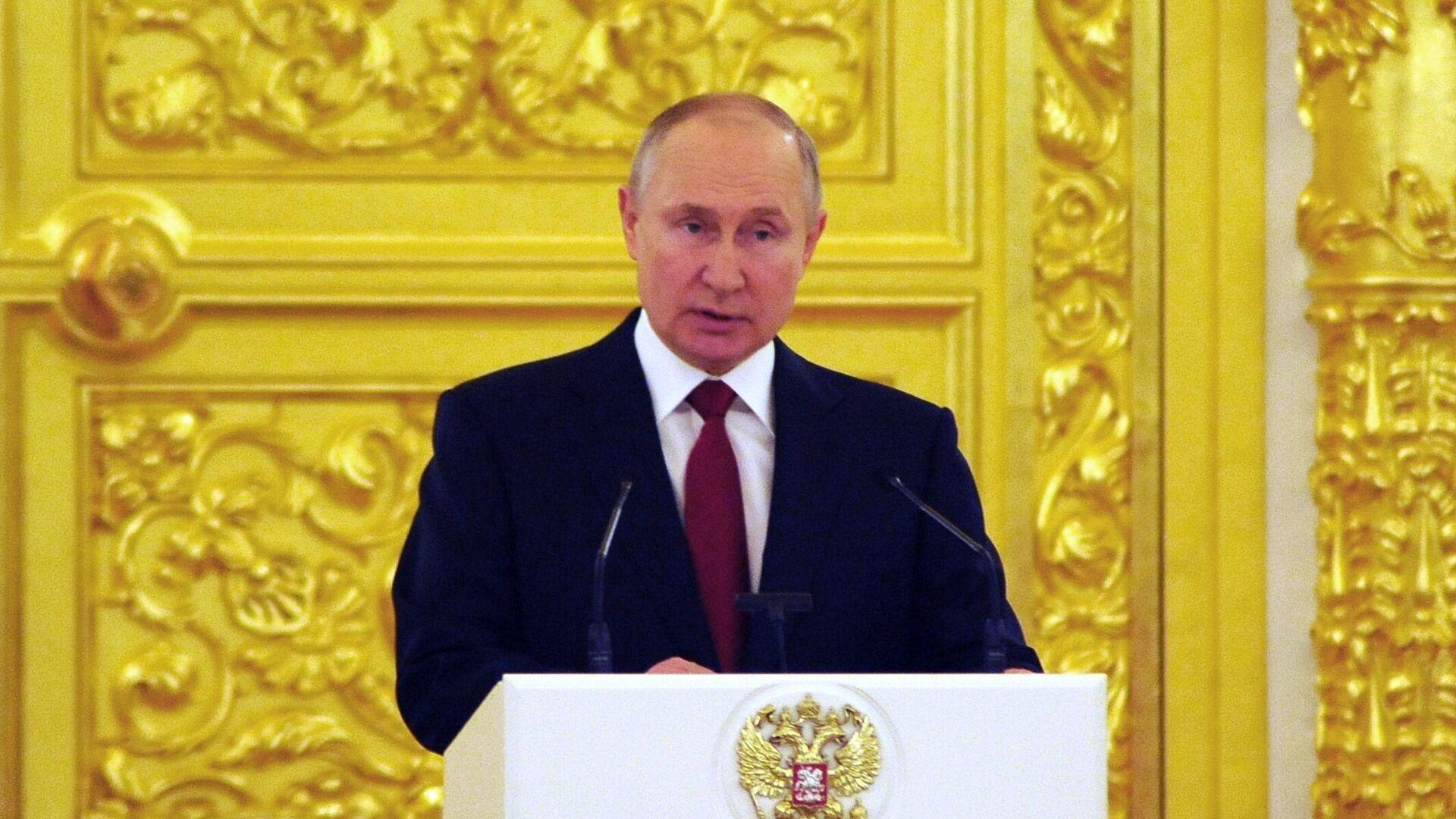 Президент РФ Владимир Путин выступает на церемонии вручения верительных грамот послами иностранных государств - РИА Новости, 1920, 18.05.2021