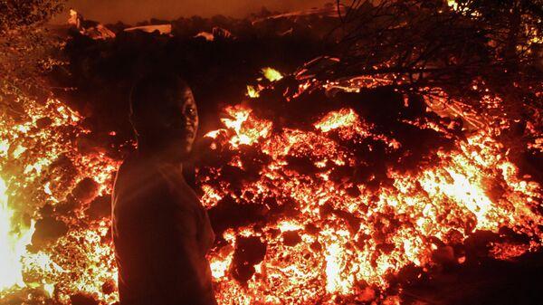 Извержение вулкана Ньирагонго в Демократической республике Конго