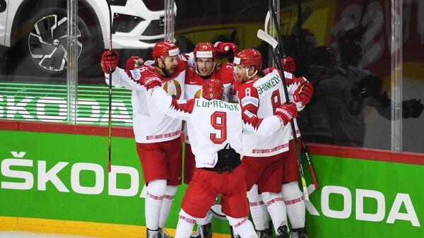 Игроки сборной Белоруссии в матче группового этапа чемпионата мира по хоккею 2021 между сборными командами Чехии и Белоруссии