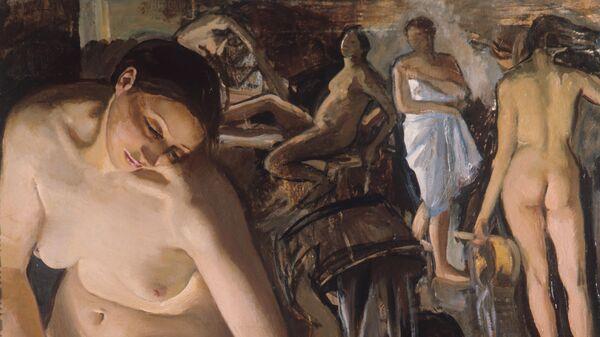 Репродукция картины Баня художницы Зинаиды Евгеньевны Серебряковой.