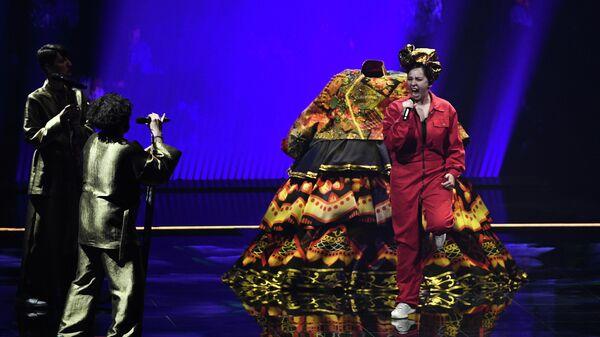Певица Манижа (Россия) выступает на репетиции первого полуфинала конкурса песни Евровидение-2021 в Роттердаме