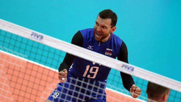 Игрок сборной России Игорь Колодинский в матче группового отборочного раунда розыгрыша Мировой Лиги между сборными командами России и Ирана.