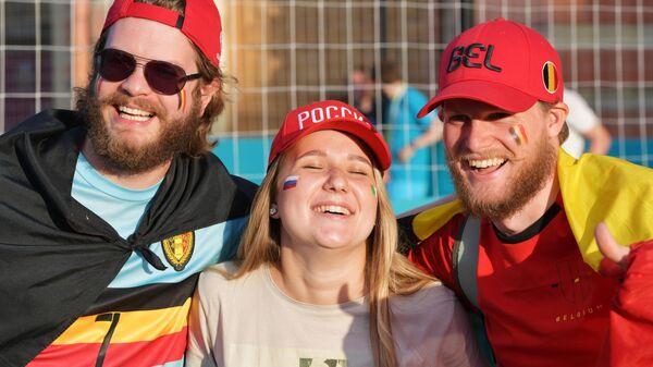 Болельщики сборных России и Бельгии в фан-зоне ЕВРО-2020 в Санкт-Петербурге
