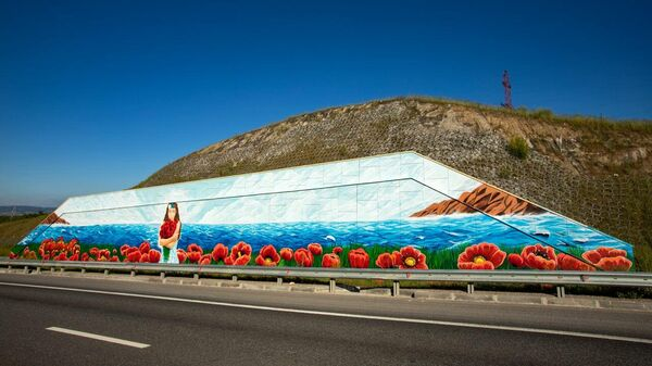Пейзаж в цветах российского триколора на федеральной трассе Таврида в Крыму