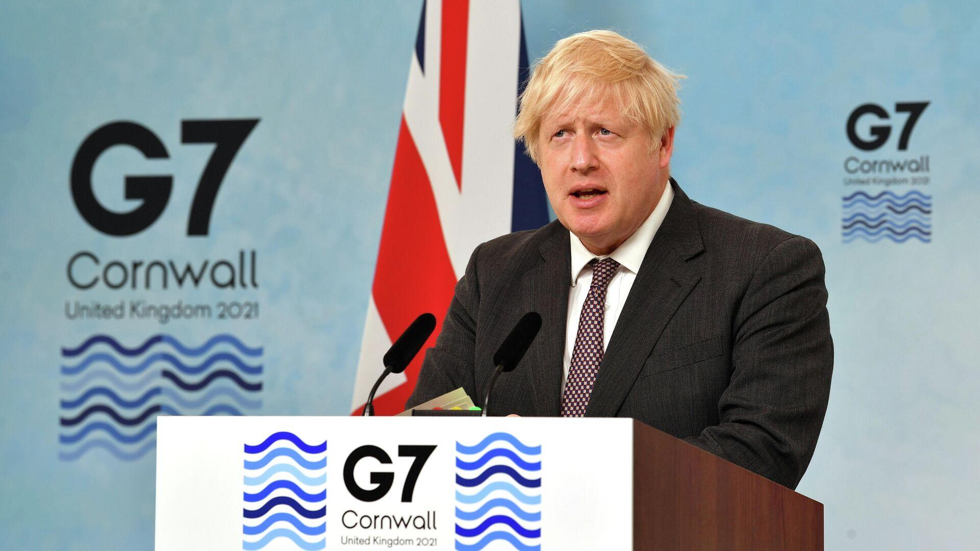 Премьер-министр Великобритании Борис Джонсон выступает на пресс-конференции по окончании саммита G7 в Великобритании - РИА Новости, 1920, 14.06.2021