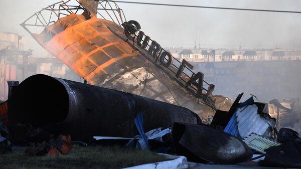 Сгоревшая автозаправка в Новосибирске