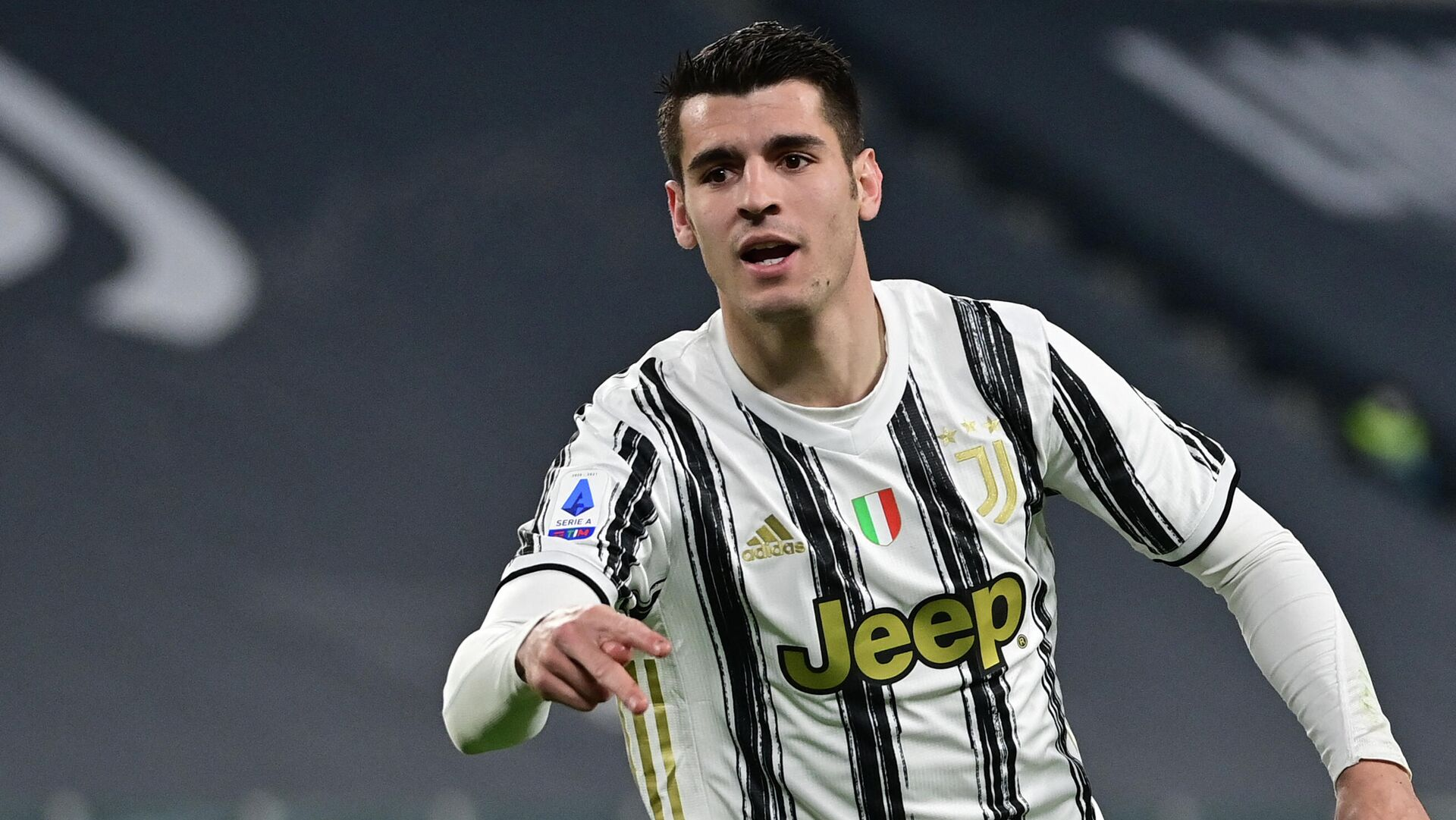 Juventus' Spanish forward Alvaro Morata celebrates after scoring a goal during the Italian Serie A football match between Juventus and Lazio at The Juventus Stadium in Turin, northern Italy on March 6, 2021. (Photo by MIGUEL MEDINA / AFP) - РИА Новости, 1920, 15.06.2021