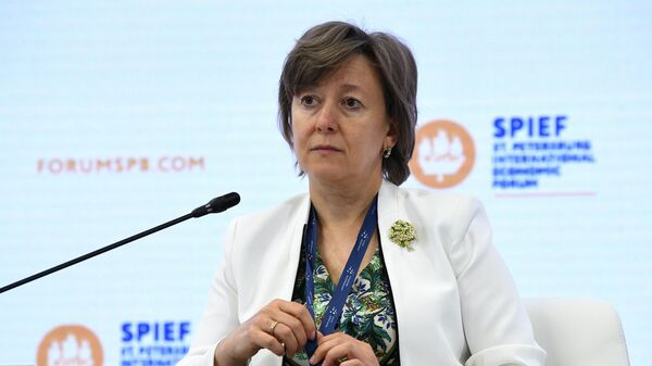 Генеральный директор АО Российский экспортный центр Вероника Никишина на ПМЭФ-2021