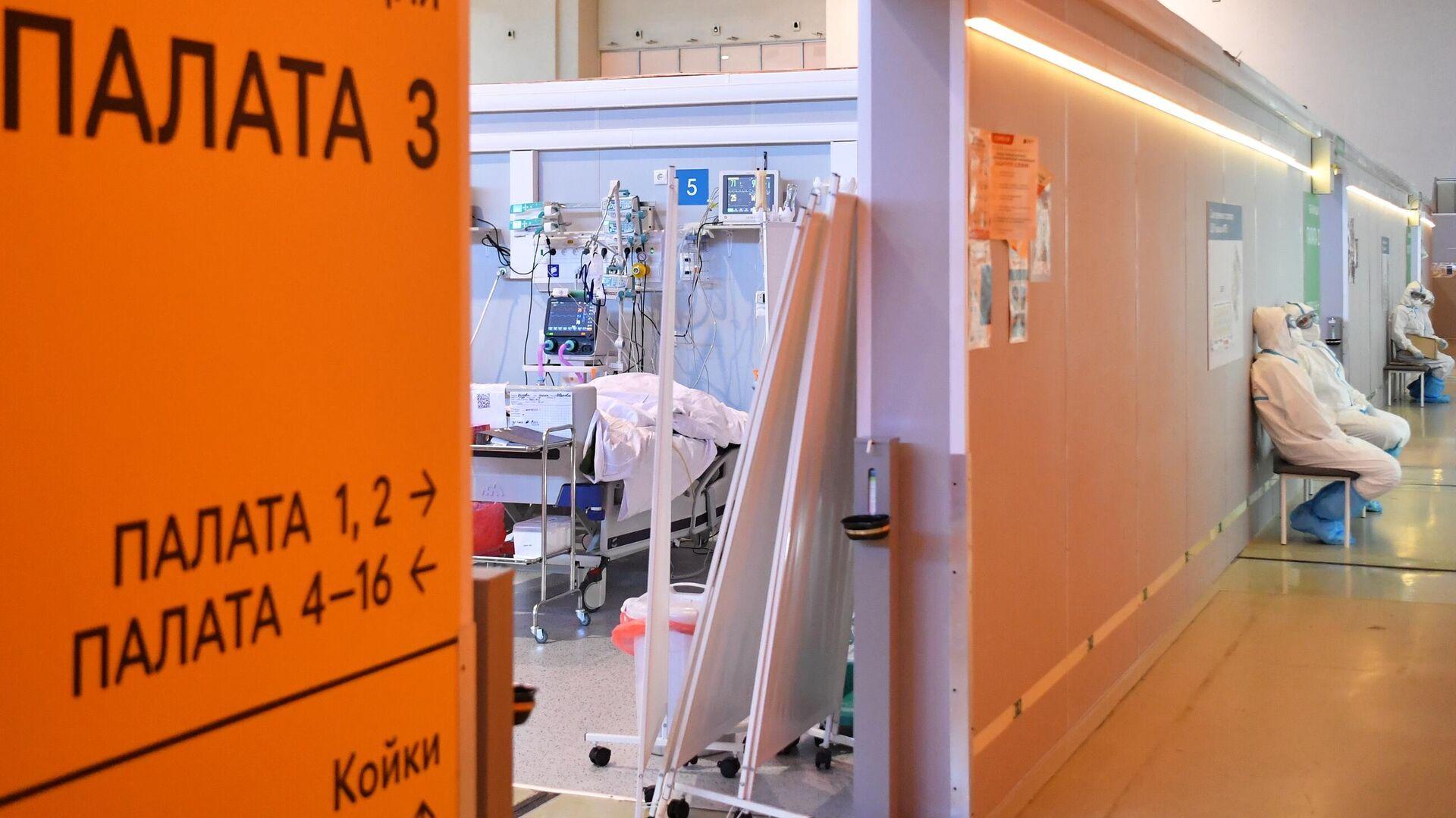 Медицинские работники возле палаты реанимации и интенсивной терапии во временном госпитале COVID-19 на ВДНХ в Москве - РИА Новости, 1920, 17.06.2021