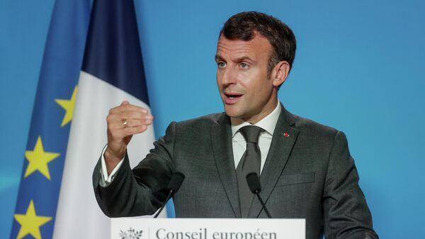 Президент Франции Эммануэль Макрон на пресс-конференции во время саммита ЕС в Брюсселе