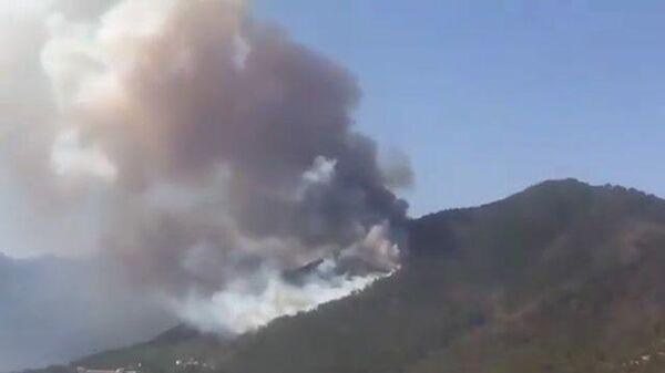 Крупный лесной пожар в районе турецкого курорта Мармарис