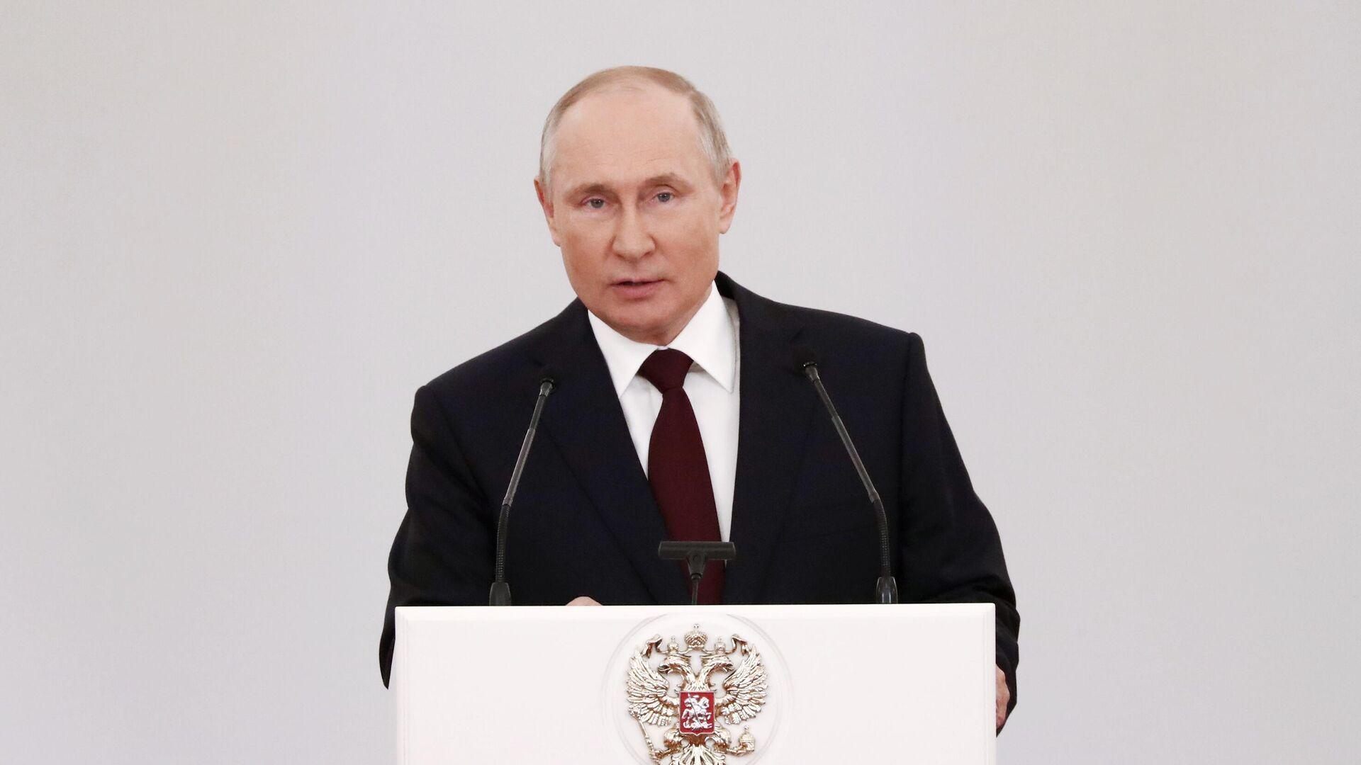 Президент РФ Владимир Путин во время встречи с выпускниками военных вузов - РИА Новости, 1920, 30.06.2021