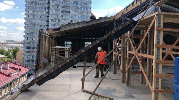 Демонтаж незаконной мансарды в московском районе Арбат
