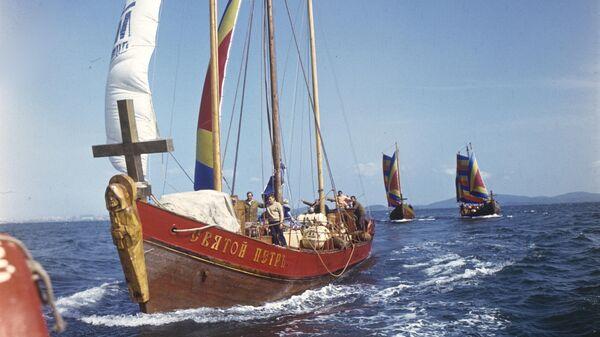 Точная копия корабля Святой Петр Витуса Беринга на международной экспедиции Русская Америка-250