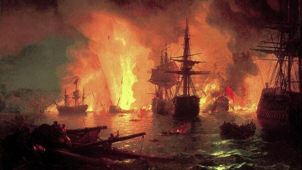 Картина И. Айвазовского. Че́сменский бой